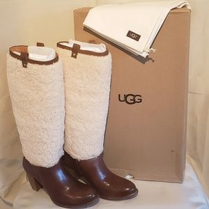 UGG Australia Ava Exposed Fur Boot Chestnut